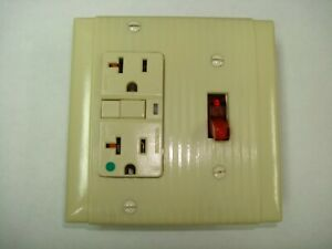 Vintage Uniline Ivory Decora Gfci Switch Outlet Wall Cover Plate 2 Gang P