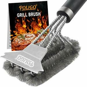Poligo Grill Brush And Scraper With Deluxe Handle Safe Wire Stainless Steel B