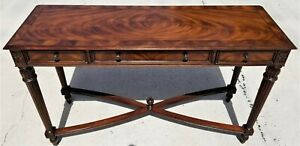 55 Hekman Traditional Open Style Flame Mahogany 3 Drawer Console Sofa Table