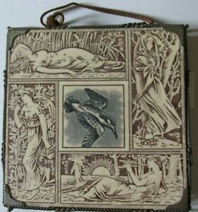 Aesthetic Art Pottery Tile 4 Seasons Rook By Elijah Burch 1880s Mounted