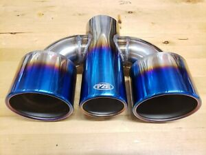 3 Inlet Triple Exhaust Tip In 304 Stainless Steel With Burnt Blue Titanium Look