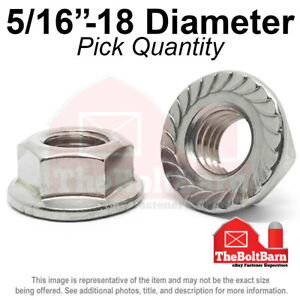 5 16 18 Stainless Steel Serrated Hex Flange 18 8 304 Lock Nuts Coarse pick Qty