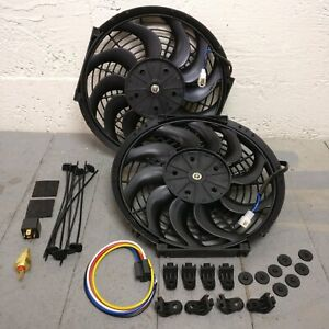 Gm B body Dual 12 S blade Cooling Fans W Fixed Temp Switch Buick Olds 283 427