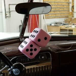 Light Pink Custom Fuzzy Hanging Rearview Mirror Dice W Black Dots Tri 5 Sbc Amc