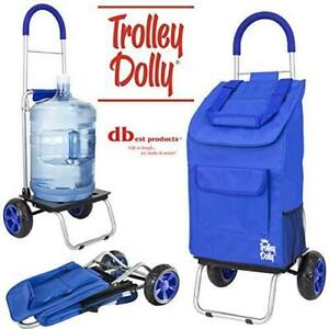 Dbest Products Trolley Dolly Blue Shopping Grocery Foldable Cart