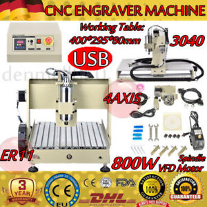 Usb 4axis 800w Cnc 3040 Router Engraving Machine Woodwork Milling Cutter 220v Eu