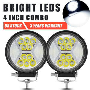 2x 4inch 100w Led Driving Fog Pods Work Light Combo Beam White Drl Offroad 5