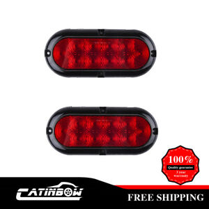 2x Stop Turn Tail Marker Light Reverse 6 Oval Clearance Red Flange Mount 10led
