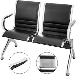 2 seat Waiting Chair Room Business Reception Bench W Armrest Comfortable Guest
