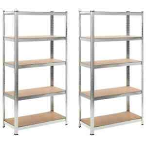 2 Garage Heavy Duty 5 tier Storage Rack Shelf Steel Adjustable Organizer Kitchen