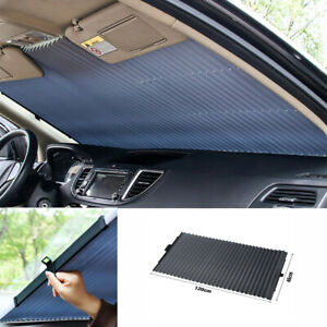 Car Retractable Curtain Uv Protection Front Windshield Sun Visor Shade Hood