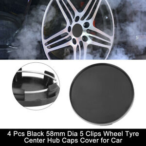 4 Pcs Black 58mm Dia 5 Clips Car Wheel Tyre Center Rim Hub Caps