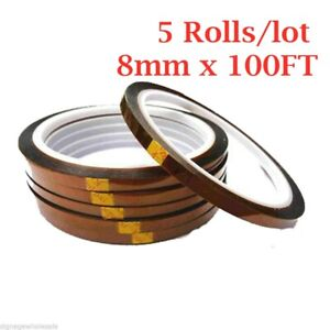 5rolls pack 8mmx100ft 3d Sublimation Kapton Tape Heat Resistance Proof Tape