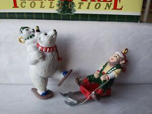 Coca Cola Trim-a-Tree Collection Set/2 Ornaments Polar Bear Elf on Sled in Box