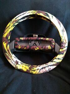 Yellow And Brown Tiger Stripes Fleece Steering Wheel Cover Set