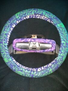 Green Purple Blue Zebra Stripes Fleece Steering Wheel Cover Set