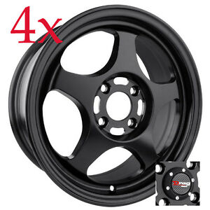 Drag Dr 23 15x6 5 4x100 4x114 3 Flat Black Rims For Protege Civic Neon Insight
