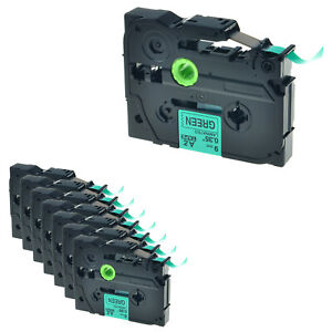 8pk Tz721 Tze721 Black On Green Label Tape For Brother P touch Pt 1960 9mm 0 35