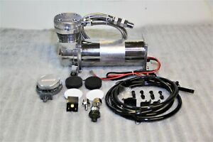 Air Ride Compressor Train Horn Lowrider Bags Suspension Chrome 12v 200psi 480