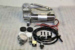 Air Ride Compressor Train Horn Lowrider Bags Suspension Chrome 12v 200psi 444