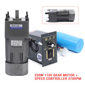 250w Ac110v Gear Motor Electric Motor With Variable Speed Controller 1 5 270rpm