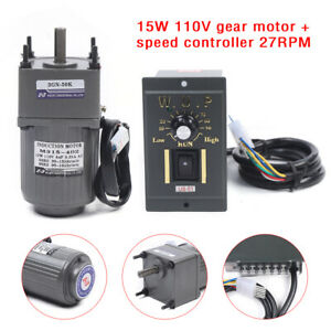 Upgrade 15w Ac Gear Motor Electric Motor Variable Speed Controller 50k 27rpm New