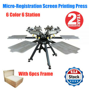 6 Color 6 Station T shirt Silk Screen Printing Machine Micro registration frame