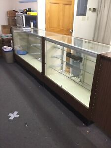 Set Of 6 Wood And Glass Retail Display Cases With Door Shelves Lights