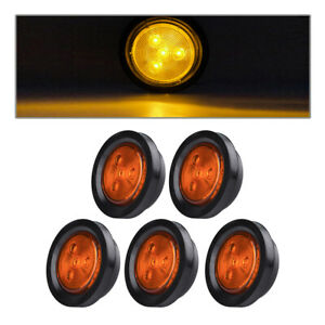 5x Amber 2 5 Round Clearence Led Side Marker Light Truck Rv Boat Marine 4led