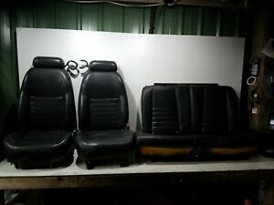 2000 2004 Ford Mustang Gt Black Leather Seat Set Power Manual Fronts Rear Oe