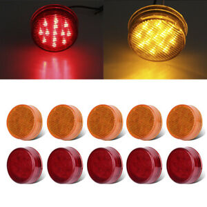 10 2 5 Round Amber Red 13led Clearence Side Marker Light For Suv Truck Sealed