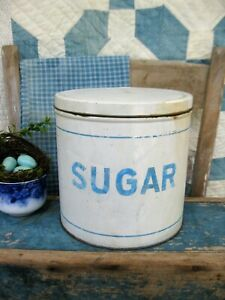 Antique Tin Sugar Canister Blue And White