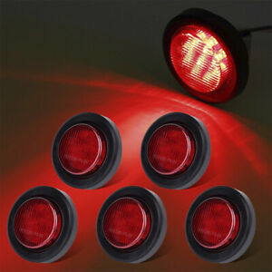5x 2 Round Red Clearence 9led Side Marker Light W Grommet Trailer Truck Seald