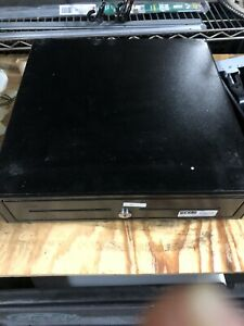 Black Cash Drawer 5 Bill And 5 Coin Slots Works Great Lock 243 No Key