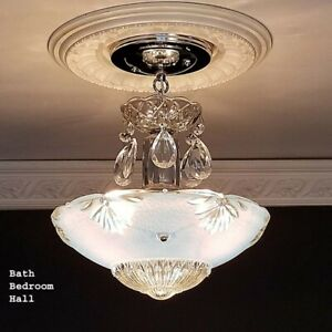 790b Vintage Antique Art Deco Glass Shade Ceiling Light Lamp Fixture Chandelier