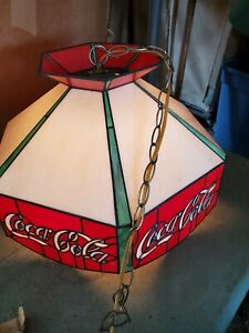 Vintage Coca Cola Stained Glass Tiffany Style Hanging Lamp Bar Pool Table