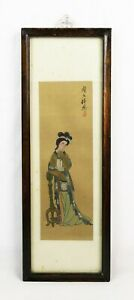 Antique Chinese Painting On Silk Of Beautiful Woman In Long Frame Signed