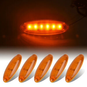 5x Cab Clearance Roof Running Top 6 Led Amber Light For Freightliner Cascadia