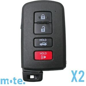 2 X Toyota Avalon corolla camry 4 Button Remote Key Replacement Shell case fob