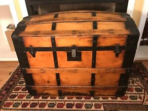 Antique Estate Dome Top Steamer Trunk Chest With Handles
