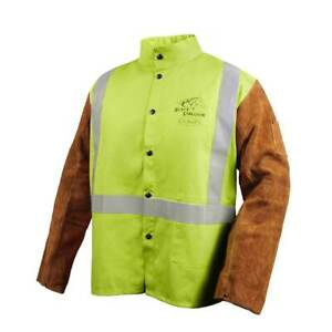 Black Stallion Jh1012 Cotton Cowhide Welding Jacket With Pass thru Lime X large