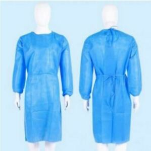 100 Blue Medical Dental Isolation Gown With Knit Cuff Medium Size Gowns