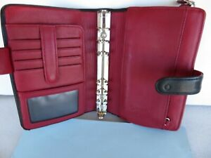 Compact 3 4 Rings black red Leather Franklin Covey Planner binder Zip