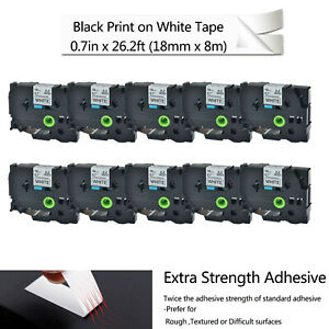 10pk For Brother Black On White Extra Strength P touch Label Tape Tzes241 Tzs241