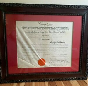 Antique Medical Diploma Buffalo Roswell Park William Mckinley Assassination Rare