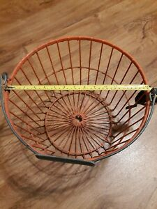 Vintage Old Farmhouse Orange Coated Metal Wire Gathering Egg Basket Shabby Nice