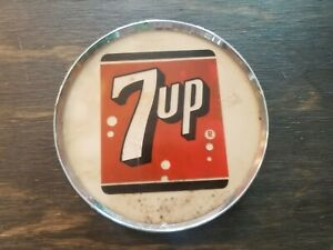 VINTAGE 7UP Fountain Service Dispenser BUTTON Medallion Sign
