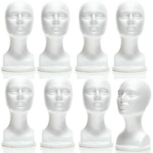 Mn 434 8 Pcs Female Styrofoam Mannequin Head Bust With Partial Shoulder