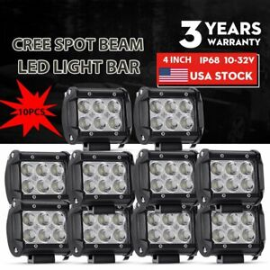 10x 4inch Led Work Light Bar Pods Spot Fog Driving Offroad Suv Atv Utv 4wd Truck