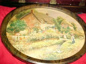 Antique Vintage Picture Print In Metal Tin Oval Frames 9 By 11 Inch Rustic